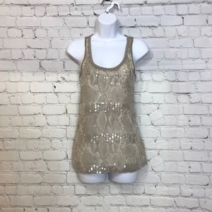 Express Sequined Tank Top Nude Beige Tan XS